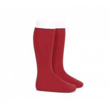 Calcetines altos basico liso Color rojo t.6