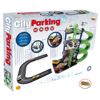 Parking City con 2 coches metal y helicoptero